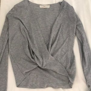 Grey waffle long sleeve with open front